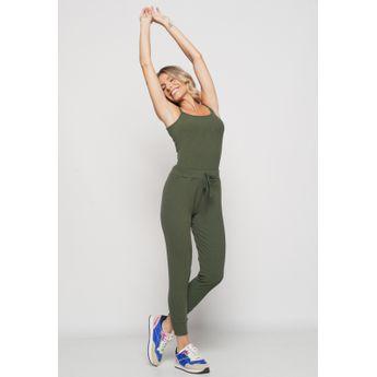 Conjunto  Comfy Com Regata Alcinha e Jogger Canelada Verde