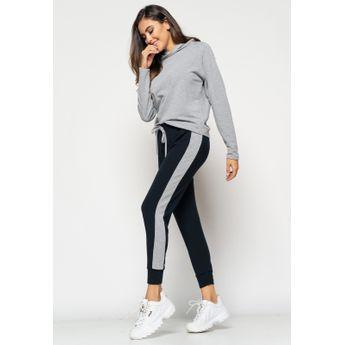 Calça  Comfy Jogger Com Faixa Lateral Moletinho Preto+Mescla